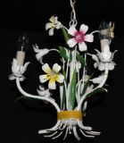 A VINTAGE FRENCH TOLEWARE CHANDELIER  FLOWERS  TOLE CEILING LIGHT Ref: ASP29b